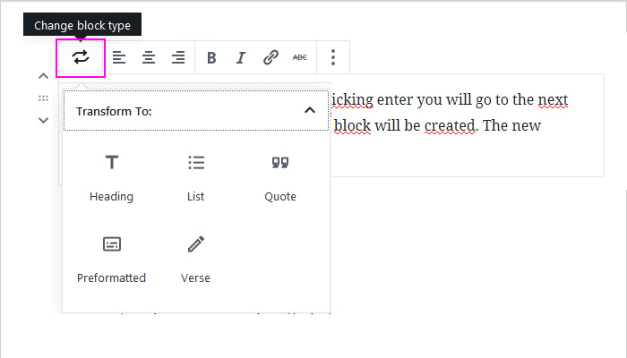 Text block in WordPress block editor