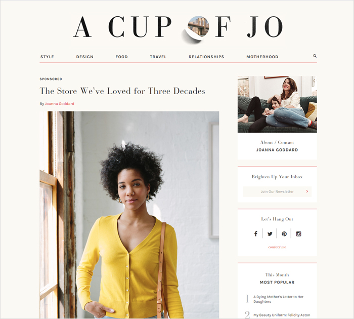 A Cup of Jo Popular blogs for women site screen shot