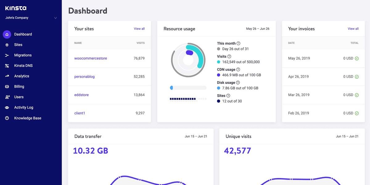 Kinsta review - the control panel