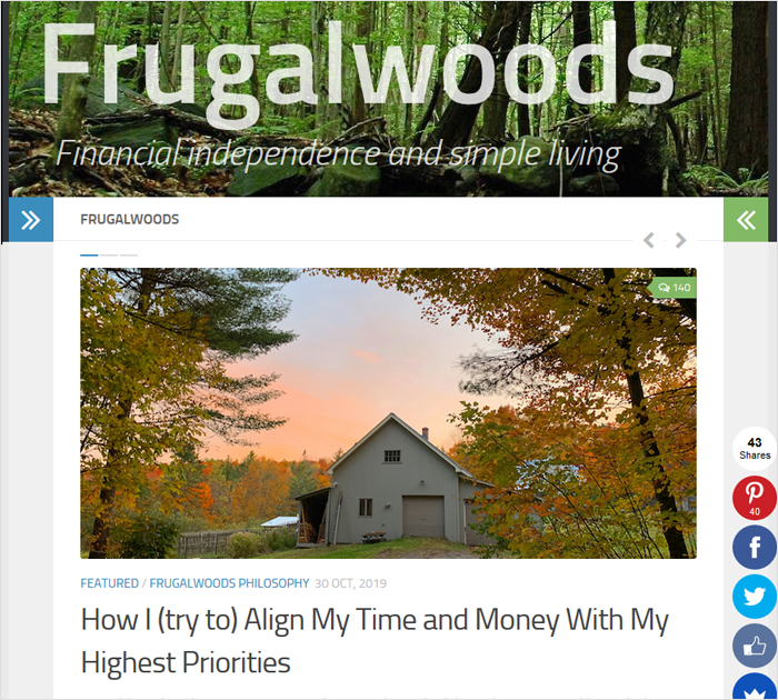 The Frugalwoods personal blog