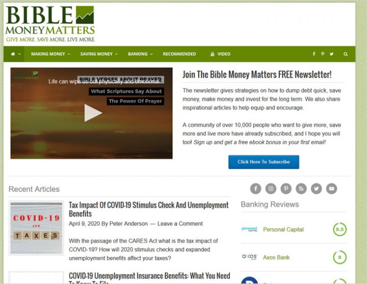 Bible Money Matters site screen shot