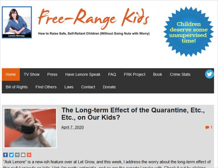 Free-Range Kids site screen shot