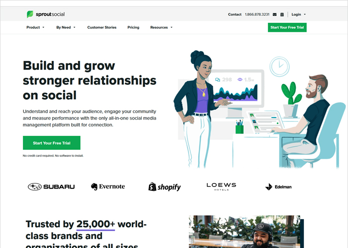 Sproutsocial - promote your blog page screen shot