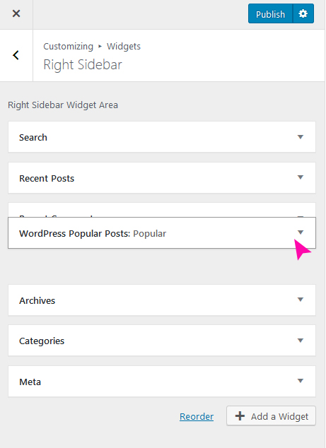 How to customize widgets in Free WP theme