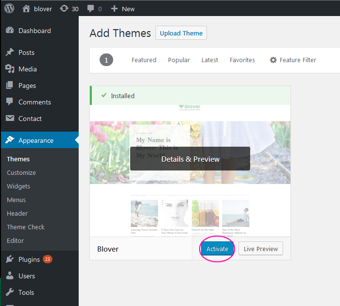 How to activate WP theme with Blover