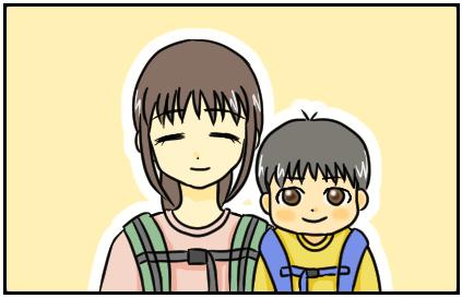 (笑っている母と長男のイラスト。)