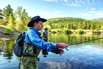 Scouts learn and practice fly fishing skills in Rocky Mountain National Park, Colorado
