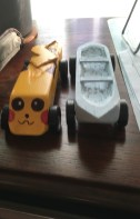 Pikachu racer and canoe
