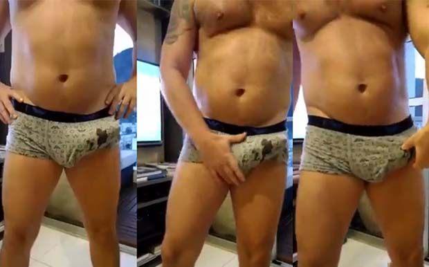 gay gordo bem furando cueca pau duro