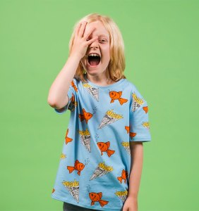 Boy wonder fish tee and funny face