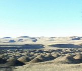 Fascinating lunar landscape along I-5. No idea why the earth moguls are there.