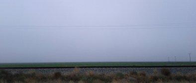 Flat farmland in the fog.