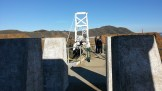 Looking back at the wooden suspension bridge.