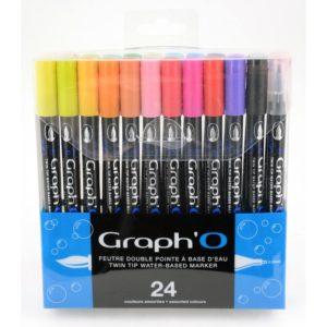 Graph'O Set de 24 feutres pinceaux double pointe. Encre à base d'eau.