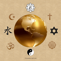 From top clockwise: Church Universal & Triumphant, Christianity, Judaism, Buddhism, Taoism, Hinduism, Confucianism, Islam