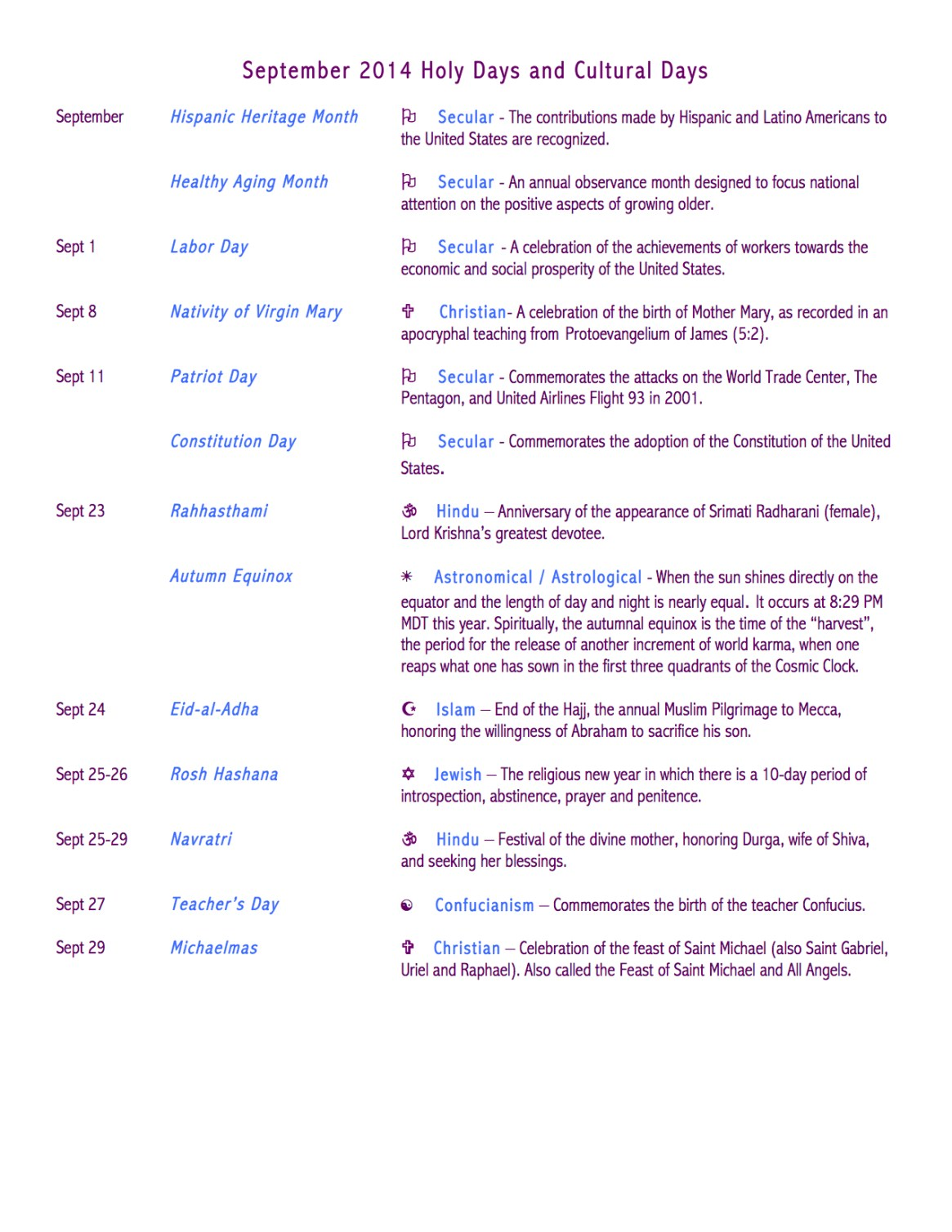 September 2014 Holy Days and Cultural Days