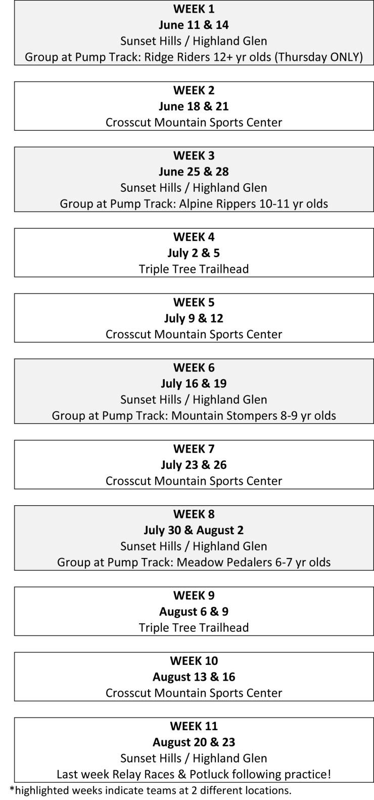WEEK 1 schedule 2