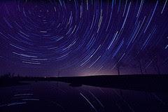 star trails on a dark night