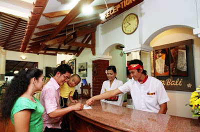 Receptionis with Balinese custome will serve you