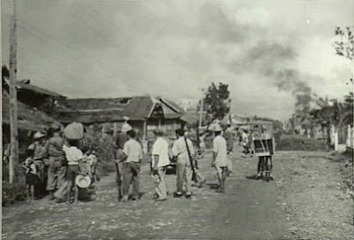 Philippines People Filipino Pinoy Pilipinas Old Black White Pictures leyte world war II wwii guerillas street scene leyte noon