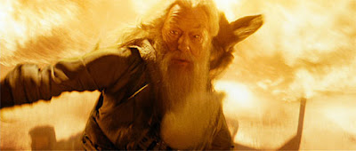 In the heat of battle: Dumbledore (Michael Gambon) and Harry have gone on a perilous journey into a cave filled with dark magic and are attacked by Inferi, reanimated and haunted dead people. Dumbledore creates a firestorm to fend off the dangerous spooky creatures.