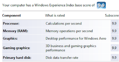 Make windows Vista Experience Index  score 9.9
