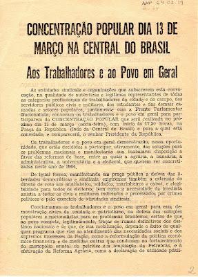 Resultado de imagem para panfleto do comício da central do brasil