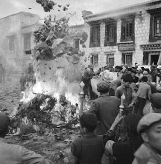 Buddhist books burnt outside of the Jokhang Temple, Lhasa, Tibet, early 1950s