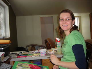 Angela Fehr painting in her home studio