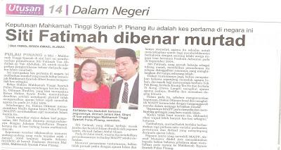 Keratan Berita Kes Murtad Pertama di Malaysia - dengan bantuan peguambela Islam