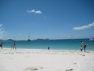 Beach cricket in Whitsundays.