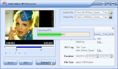 Extract audio from DVD and all popular formats of video into MP3 Format