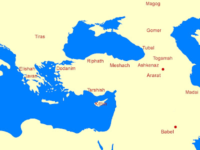 Map of Japheth's descendants