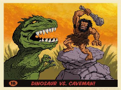 illustration of caveman fighting dinosaur