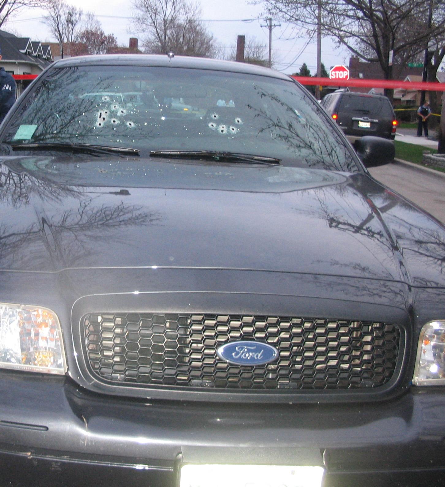 Cop Car Shot up w/AK-47