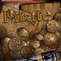 pirate gold rom rum spanish gold spain treasure pistol gun sail matey old paper
