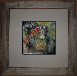 Mossy Niche framed watercolor painting by Angela Fehr