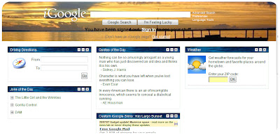 iGoogle skin sunset