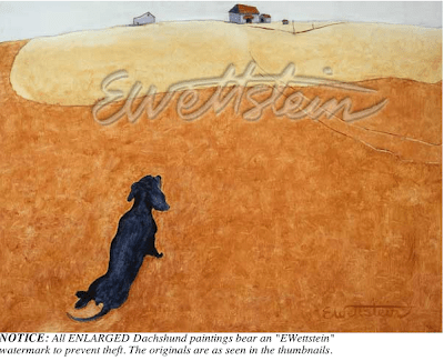 satirical dachshund painting