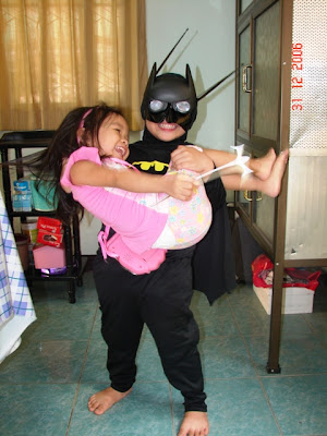 Go Batman! Nira (with the batsuit) and Nel