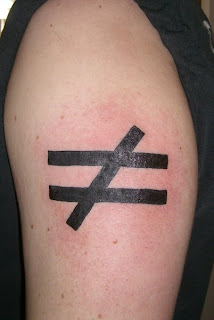 This tattoo indicates inequality (and also massive infection)