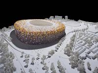 Maqueta del estadio con exteriores