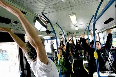 Yoga on bus