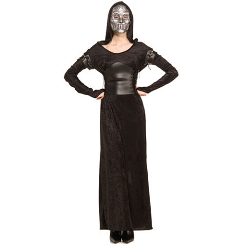 $24 BUY NOW There's nothing more bone-chilling than a Death Eater answering the door on Halloween night, so while you're handing out treats, give the little ones a fright. You'll be the creepiest mom on the block in this badass dress decorated with a cummerbund sash and iron-looking mask.