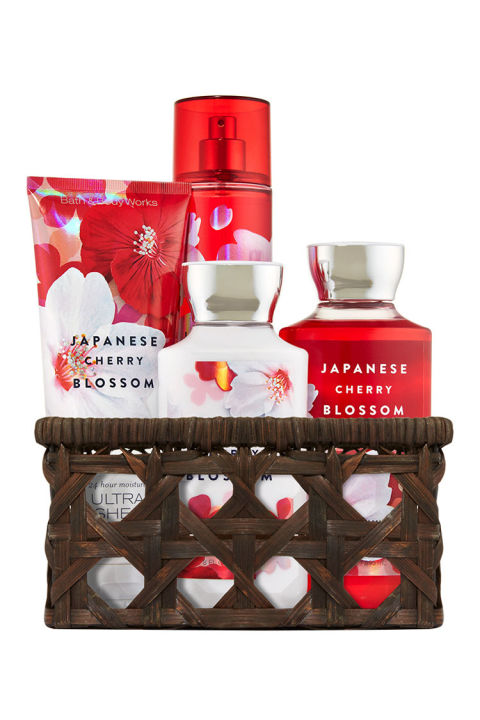 $38 BUY NOW A little sugar and spice is always nice, so she'll love this delicious lather from Bath & Body Works. Featuring generously sized body gel, lotion, fragranced spray, and shea body cream, this brand-favorite basket sweetly scents her shower with an aroma derived from Japanese cherry blossoms, crisp pears, and sandalwood.