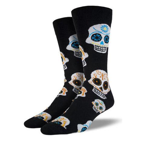 Joy of Socks Black and White Muertos Skull