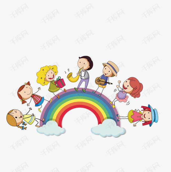 矢量卡通彩虹小孩素材圖片免費下載_高清卡通手繪psd_千庫網(圖片編號7214827)