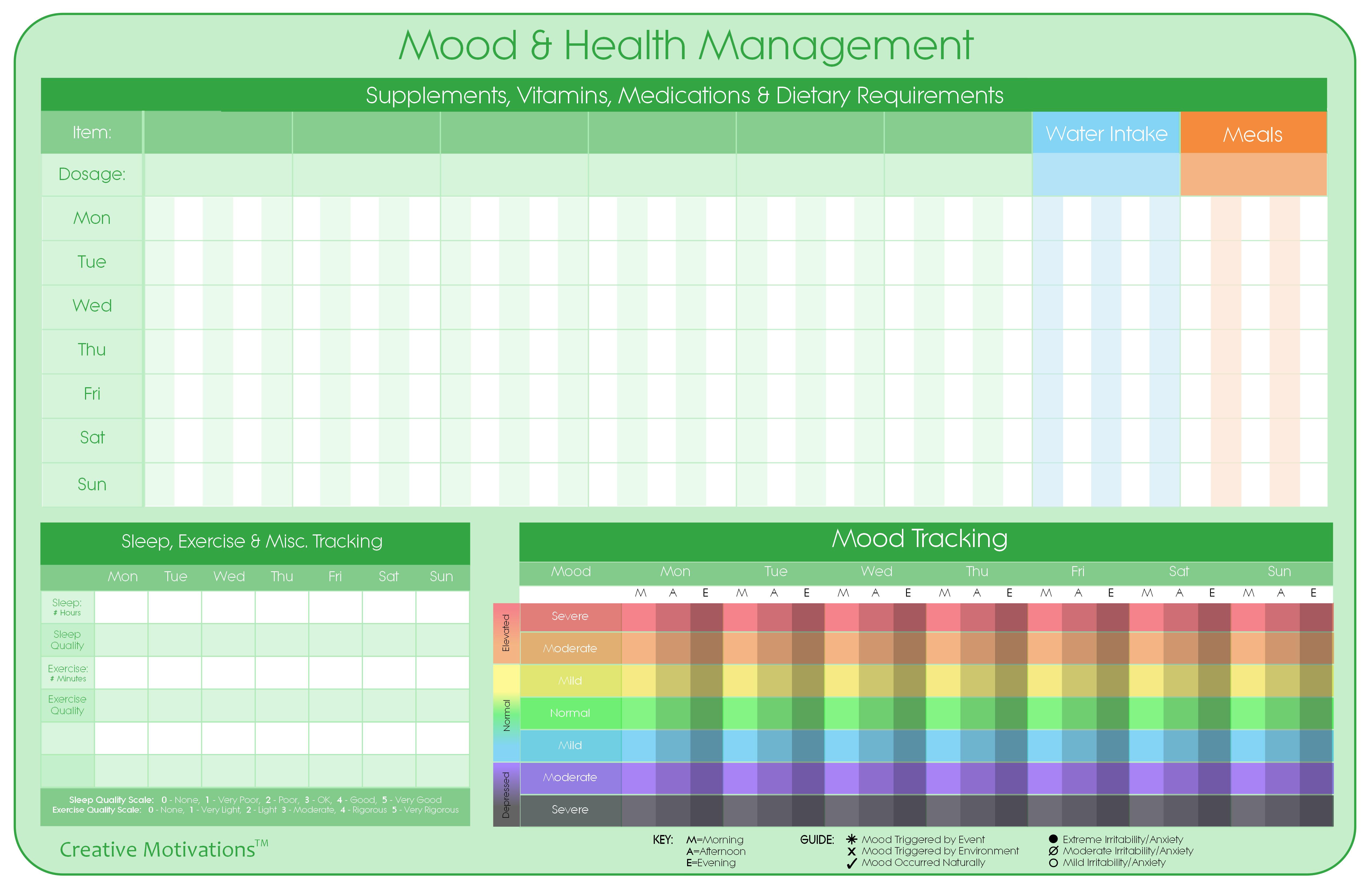 Bipolar Mood Amp Health Management Chart