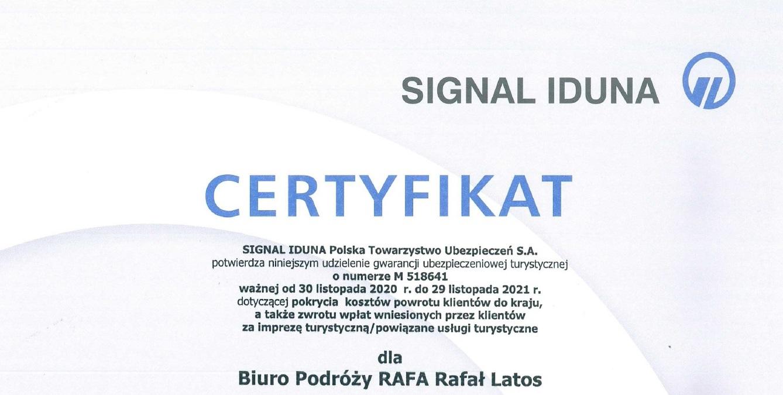 Certyfikat gwarancja ubezpieczeniowa organizatora turystyki Biuro Podróży RAFA