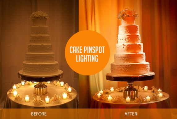 Cake-pinspot-wedding-lighting-before-and-after